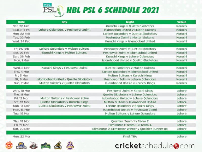 psl 6 schedule 2021
