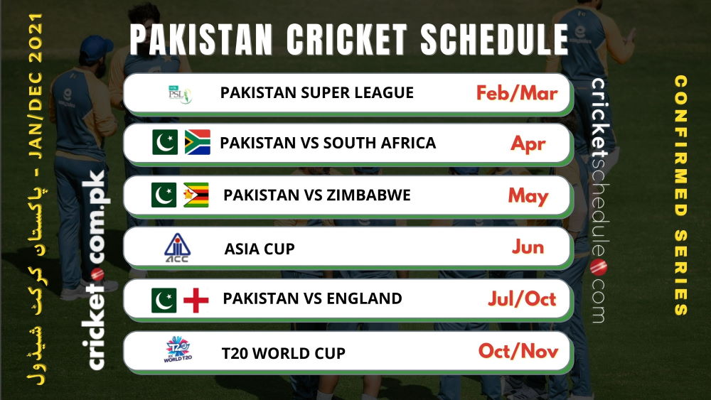 Pakistan cricket schedule and series list